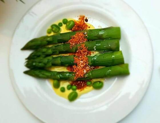Asparagus, broad beans and peas with saffron yoghurt and dukkah