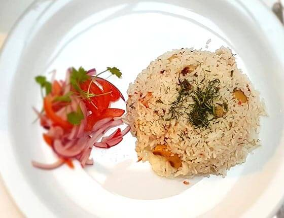 Jewelled rice and kachumbar