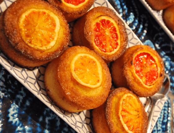 Blood orange semolina cakes