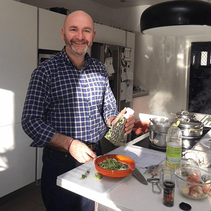 Alan making a raita at a private cooking class